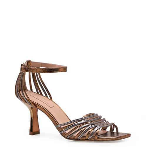 Sandália Feminina Twist – Couro Metálico Bronze